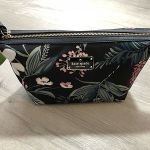 Kate Spade Road Botanical Black Nylon Cosmetic Bag